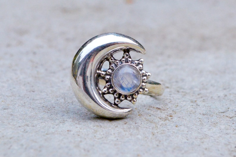 Crescent Moon and Sun  Star Burst Ring Healing Crystal Astrology Boho Statement Celestial Silver Rainbow Moonstone Sterling 925 Stone