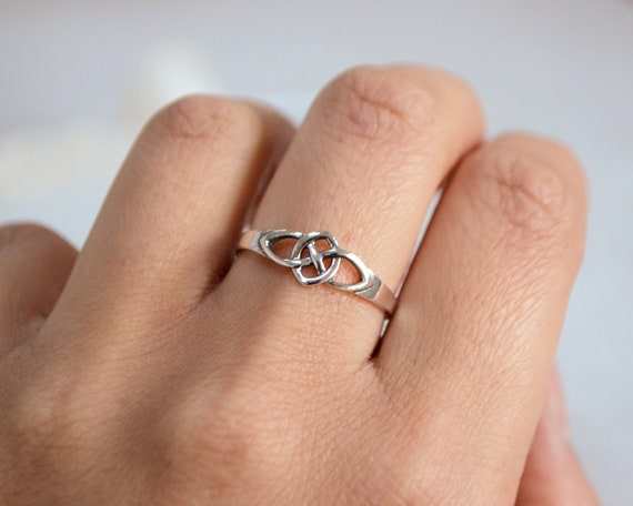 Stackable 925 Sterling Silver Celtic Cross Religious Symbol Women Band Ring