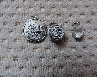 Happy Birthday Cake With White Enamel FrostingCandle Inside Mechanical Sterling Silver Vintage Charm For Bracelet