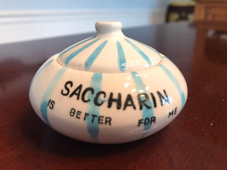 Rare mid century Saccharin sugar bowl Davar Porcelain Saccharin is better for me FREE SHIPPING
