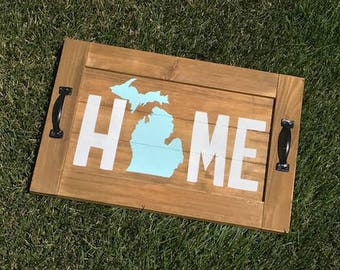 HOME Serving Tray Wall Sign | Rustic Wood Home Sign | State Wall Art | Rustic State Sign | State Decor | Wood Home Sign | Rustic Decor