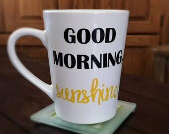 Good Morning Sunshine Mug | Vinyl Mug | Couples Mugs | Unique Coffee Mug | Happy Mugs | Couples Gift | Positive Mugs | Optimistm Gifts