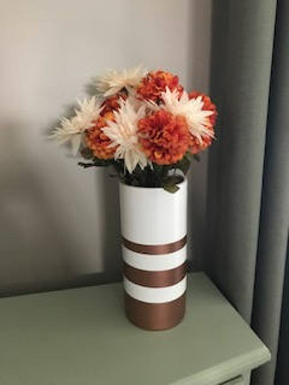 Copper Striped Vase Copper Thanksgiving Decor Halloween Etsy