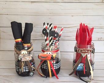 Cars Decorated Mason Jars Centerpiece Birthday Decorations Lightning McQueen