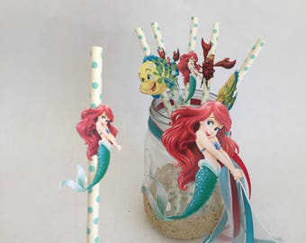 Little Mermaid straws, Ariel straws, mermaid straws, Ariel birthday, Little Mermaid birthday, mermaid birthday, first birthday