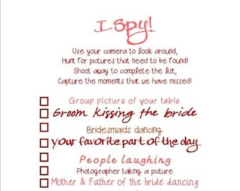 I Spy Wedding Game Digital Printable- Blush and Merlot Theme