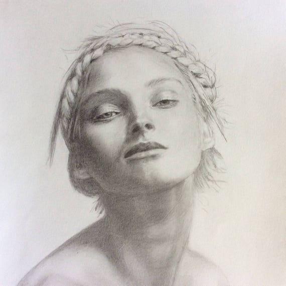 Copie Du Portrait De Femme Au Crayon Sur Papier Dessin 200gr Etsy