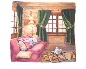 Print: cottage