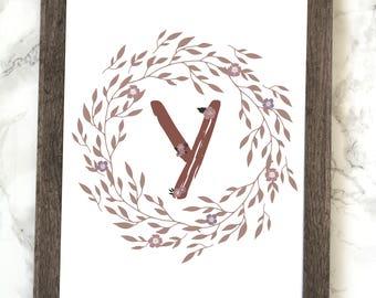 Monogram Letter Y Printable, Floral Monogram Letter Y Printable, Letter Y Wall Art, Letter Y Printable, Monogram Printable, Initial Print