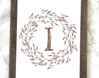 Monogram Letter I Printable, Floral Monogram Letter I Printable, Letter I Wall Art, Letter I Printable, Monogram Printable, Initial Print