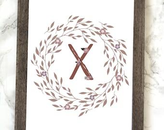 Monogram Letter X Printable, Floral Monogram Letter X Printable, Letter X Wall Art, Letter X Printable, Monogram Printable, Initial Print