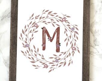 Monogram Letter M Printable, Floral Monogram Letter M Printable, Letter M Wall Art, Letter M Printable, Monogram Printable, Initial Print