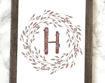 Monogram Letter H Printable, Floral Monogram Letter H Printable, Letter H Wall Art, Letter H Printable, Monogram Printable, Initial Print