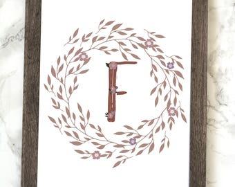 Monogram Letter F Printable, Floral Monogram Letter F Printable, Letter F Wall Art, Letter F Printable, Monogram Printable, Initial Print