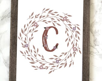 Monogram Letter C Printable, Floral Monogram Letter C Printable, Letter C Wall Art, Letter C Printable, Monogram Printable, Initial Print