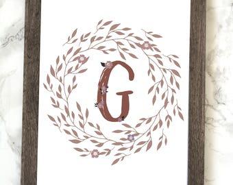 Monogram Letter G Printable, Floral Monogram Letter G Printable, Letter F Wall Art, Letter F Printable, Monogram Printable, Initial Print