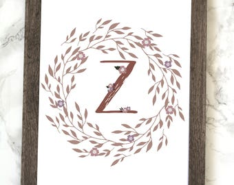 Monogram Letter Z Printable, Floral Monogram Letter Z Printable, Letter Z Wall Art, Letter Z Printable, Monogram Printable, Initial Print