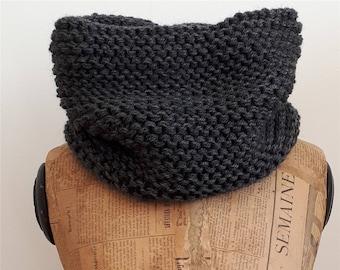 Dark grey Snood knitting