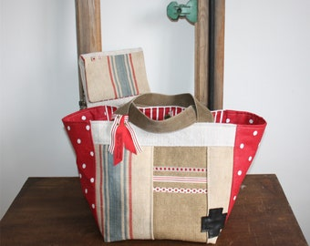 Bag and clutch * RED * hemp and linen