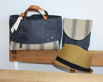 Bag and clutch * hemp * * linen * * GREY-BLACK *.