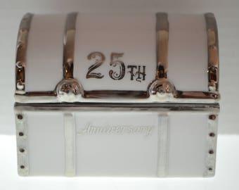 25th Anniversary Lefton 459 Treasure Chest Trinket Keepsake Box