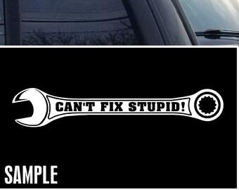 I/'m a Mechanic but I Can/'t Fix Stupid Decal Bumper Sticker Car Window Sticker