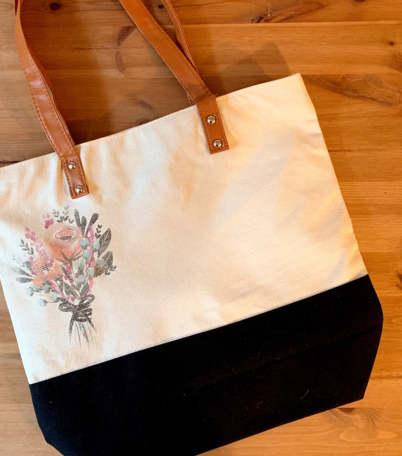 Downtown Tote Bag Metro Bag Shopping Bag Fashion Tote Flower Bouquet Flower Bag 15.5X14.5X4.5 Gifts for her Cotton Canvas Bag