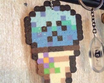 "Blue Cute Cone Perler Keychain ""Blue-Berry"""
