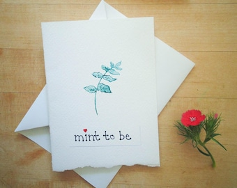 Mint to Be Love Card / Pun & Punny Wedding Card / Mint Engagement Card / Meant to Be Love Card / Watercolor Card