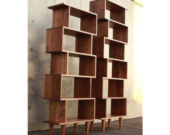 Mid Century OFFSTACK Bookcase Modern Bookshelf Solid Wood