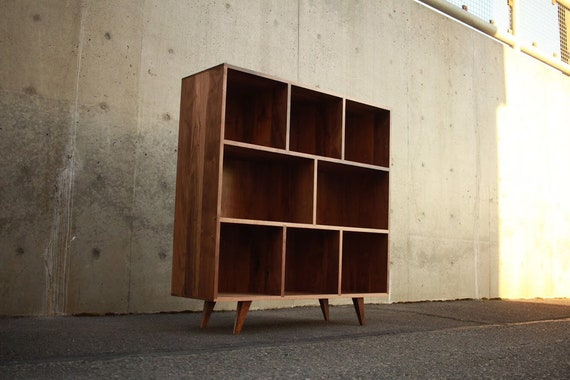 Smith Vinyl Lp Console Bookcase Mid Century Modern Shown In Walnut