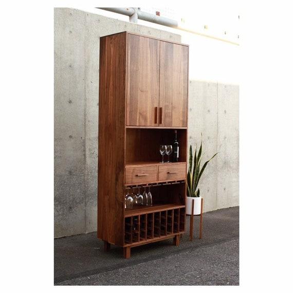 Frisby Wine Bar Modern Wine Cabinet Tall Hardwood Liquor Etsy