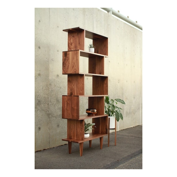 Offstack Bookcase Mid Century Modern Bookshelf Solid Wood Etsy