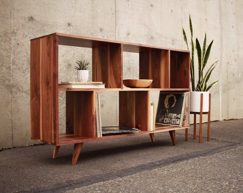 Bainbridge Vinyl Lp Console Mid Century Modern Lp Storage Sideboard Shown In Walnut