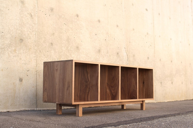 Warner Foyer Bench Lp Vinyl Storage Shown In Walnut