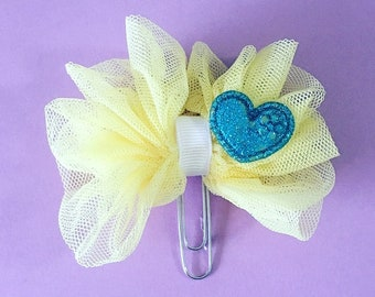 Yellow Tulle with Blue Heart Planner Clip E64
