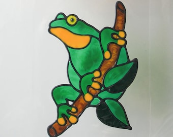 Green Tree Frog on a Branch: Glassyart Suncatcher Clings