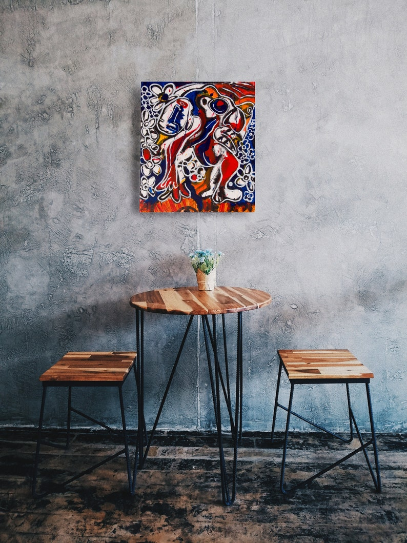 Large Abstract painting Warm pop colours  Colourful Pop Art painting  Colourful Abstract painting  Blue and Orange Red White
