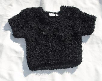 8bbeba7c vintage black fuzzy crop top shirt sz Medium