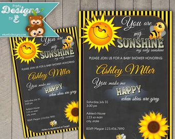 You Are My Sunshine Baby Shower Invitation - Sunshine Baby Shower Invitation - A Little Ray of Sunshine Baby Shower