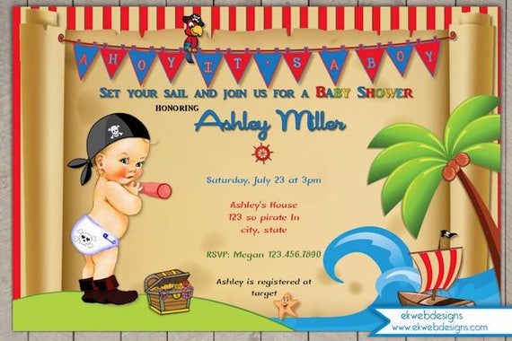 Pirate Baby Shower Invitation Ahoy Its A Boy Vintage Etsy