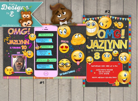 Emoji Invitation Movie Birthday Invitations