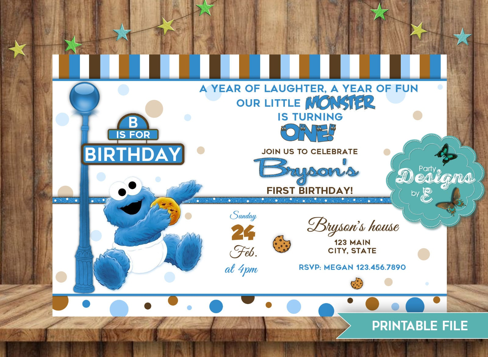 Cookie Monster Birthday Invitation A little Monster Invite | Etsy