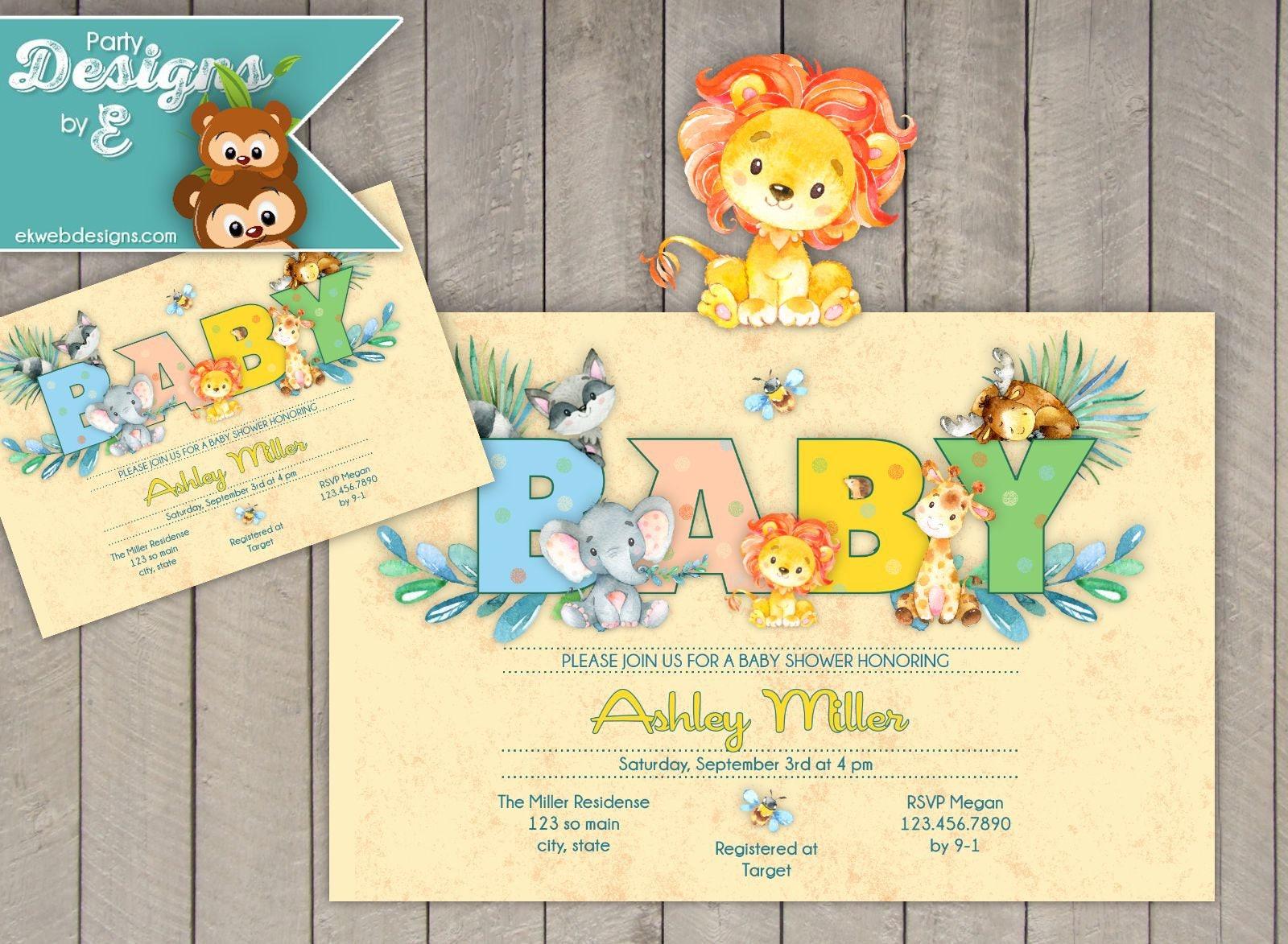 Baby animals baby shower invitation baby boy baby shower etsy zoom filmwisefo