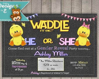 Waddle it be Gender Reveal Party Invitation - Duck Baby Shower Invitation - Duck Gender reveal Baby Shower Invitation