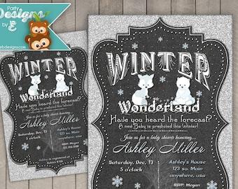 Winter Wonderland Baby Shower Invitation - Winter Baby Shower Invitation - Arctic Animals Baby Shower Invitation, Snowflake Invitation