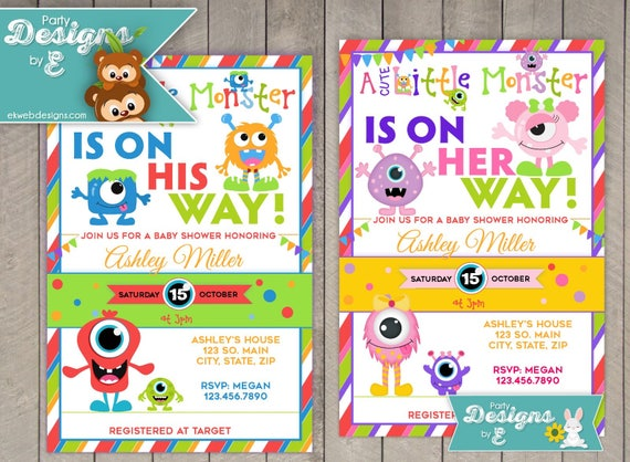 A Cute Little Monster Baby Shower Invitation Monster Boy Etsy