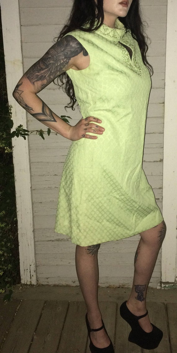1960's Beaded Green Mod Dress with Jacket
