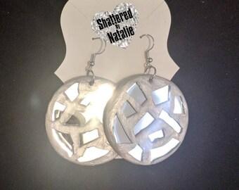 Mirror Mosaic Silver Circle Earrings