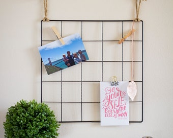 Wire Wall Grid, Photo Display, College Dorm Decor, Graduation Gift, Grid Memo Board, Vision Board, Student Gift, Office Decor, Craft Room